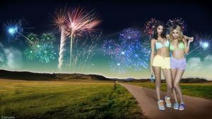 Selena Gomez & Vanessa Hudgens - Bikini Top & Hot Pants (New Year's Eve Special Wallpaper) 1x