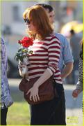 Christina Hendricks & January Jones on the Cemetary of the Stars Tour in Los Angeles 11/03/12